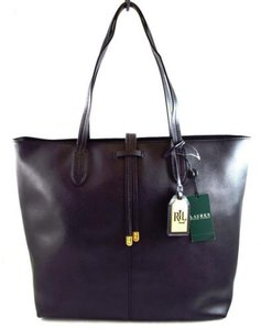Ralph Lauren Leather Crawley Tote in Black