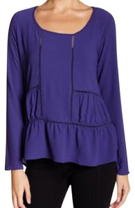 Harlowe & Graham Tiered Ruffle Hi-lo Cut-out Top periwinkle
