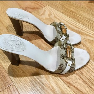 Gucci brown, white, gold Sandals
