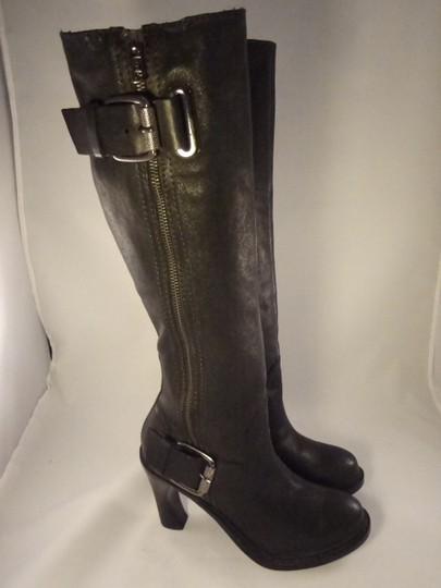 Vera Wang Lavender Label Leather Chunky BLACK Boots Image 1