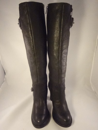 Vera Wang Lavender Label Leather Chunky BLACK Boots Image 3