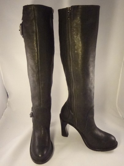 Vera Wang Lavender Label Leather Chunky BLACK Boots Image 4