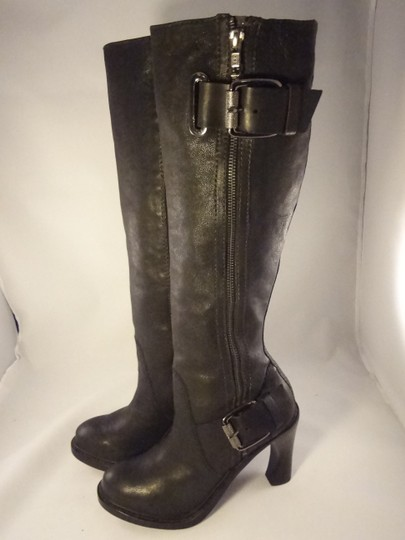Vera Wang Lavender Label Leather Chunky BLACK Boots Image 5