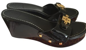 Tory Burch Monogram Patent Black Wedges