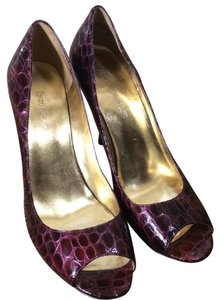 Enzo Angiolini Patent Leather Peep Burgundy Pumps