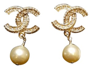 Chanel NEW Authentic Chanel Big CC Crystal and Pearl dangle Earrings