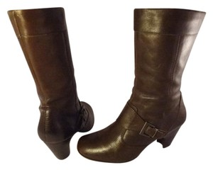 Brn Leather Chunky Brown Boots