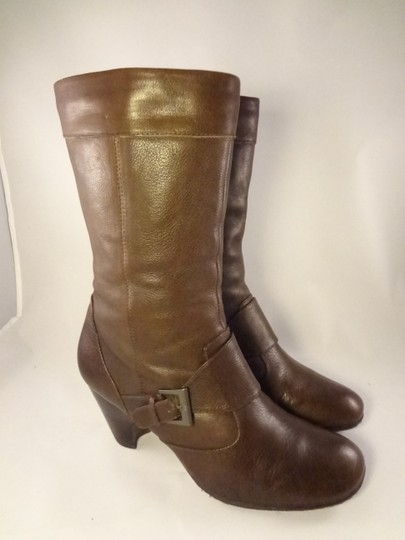 Brn Leather Chunky Brown Boots Image 1