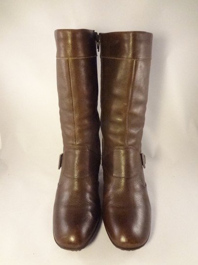 Brn Leather Chunky Brown Boots Image 2