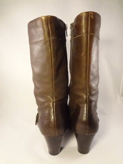 Brn Leather Chunky Brown Boots Image 4