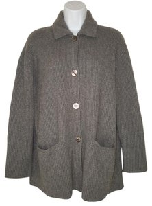 Brunello Cucinelli Cashmere Ribbed Gray Soft Cardigan