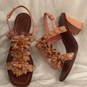 Tory Burch Leather Patent Leather Peach (Pink) Sandals