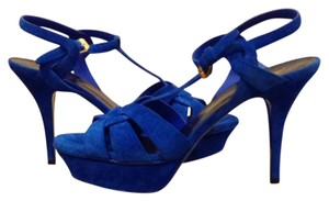 Saint Laurent Blue Suede Leather Platforms