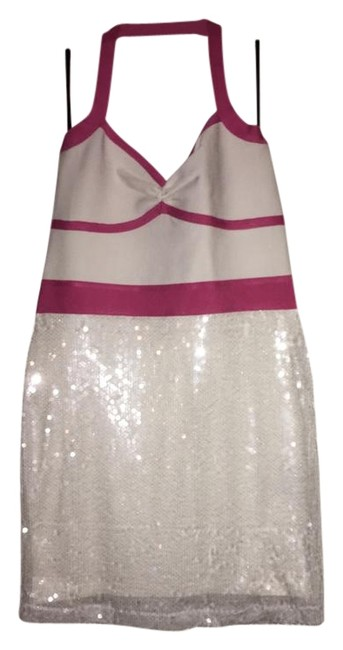 Preload https://img-static.tradesy.com/item/20512475/bebe-white-with-pink-strap-around-neck-short-night-out-dress-size-12-l-0-5-650-650.jpg