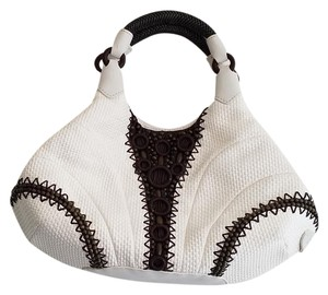 Cole Haan Spring Designer Beaded Small Tote in White/Brown