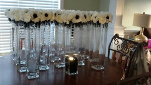 Ivory And Black Centerpieces