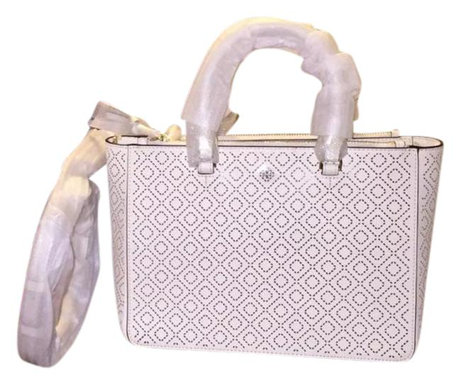 Tory Burch Robinson Perforated Multi New Ivory Saffiano Leather Tote Tory Burch Robinson Perforated Multi New Ivory Saffiano Leather Tote Image 1