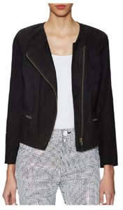 Sandro Suede Collarless Asymmetric Zip Moto Slim Motorcycle Jacket