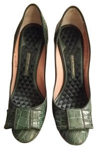 Giorgio Armani Womens Crocodile Armani High Heel Emerald green Pumps