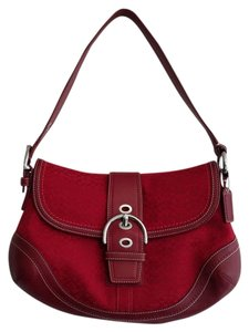 Coach Vintage Designer Red Jacquard Satchel in Red/Red Leather Trim