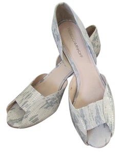 Rebecca Minkoff Leather D'orsay Styling Modified Wedge Heel ivory & gray Pumps