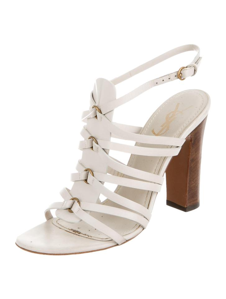 Saint Laurent Creme Yves Sandals Ysl Strappy Caged Block Sandals Yves 60b3a0