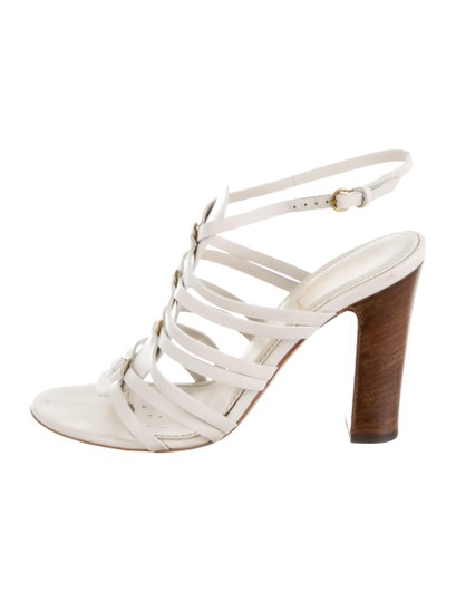 Saint Laurent Yves Ysl Caged Strappy 7.5 Creme Sandals Image 1