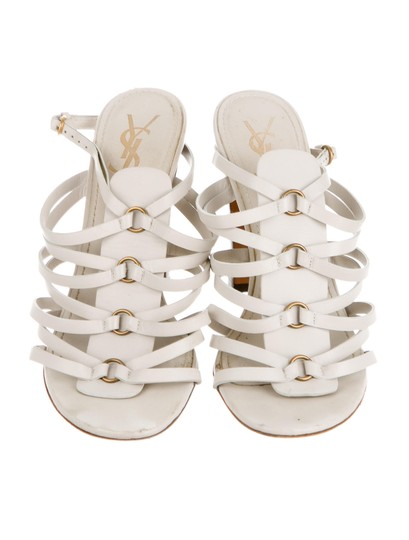 Saint Laurent Yves Ysl Caged Strappy 7.5 Creme Sandals Image 2