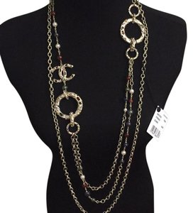 Chanel cc logo golden lava rock crystal necklace