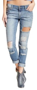 Sneak Peek Distressed Denim Cotton Boyfriend Cut Jeans-Medium Wash