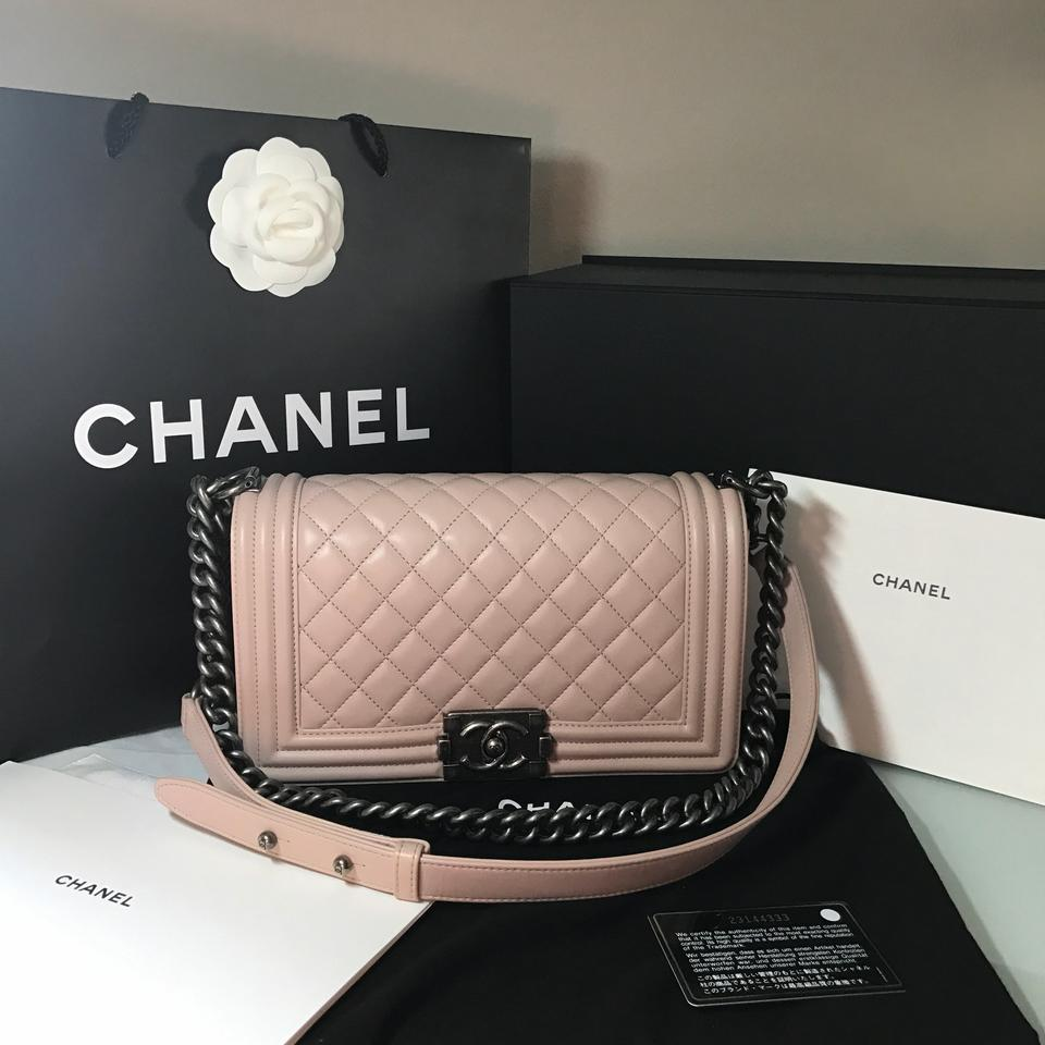 274d584bb72708 Chanel Boy Medium Leather Light Pink Lambskin Cross Body Bag - Tradesy