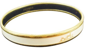 Hermès HERMES Bangle Bracelet White Gold-Tone
