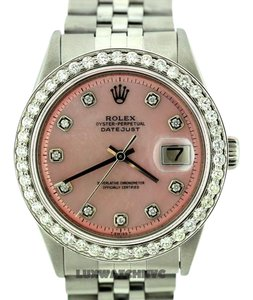 Rolex 36MM ROLEX DATEJUST STAINLESS STEEL 2.3CT DIAMOND BEZEL WATCH