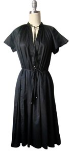 French Connection short dress Black Cotton Aline Belted Cap Sleeves Beach on Tradesy