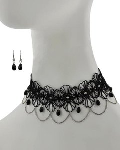 Other Black Glass & Mesh Choker Necklace and Earrings