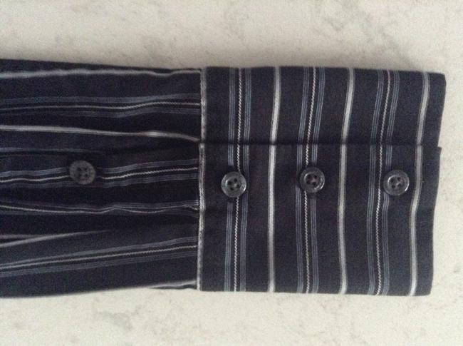 Express Button Down Shirt Black with grey stripes