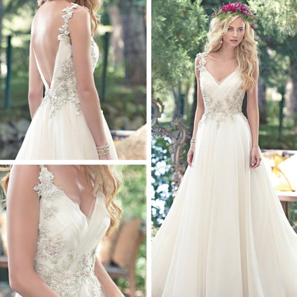 Maggie Sottero Ivory with Gold and Blush Accents Shelby Gown By ...