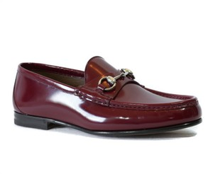 Gucci 387598 Mens Brushed Leather Leather Horsebit Loafer Dark Red 8.5g9.5us