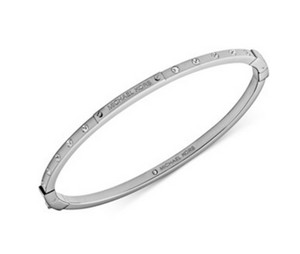 Michael Kors NWT Michael Kors MK Logo Plaque Bangle Silver Tone Crystal Bracelet