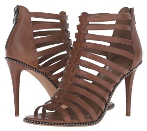 Coach A00818 Kia Saddle Leather Gladiator Cage Heels Brown Pumps