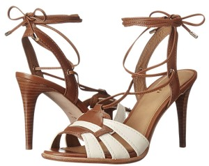 Coach A01230 Kiara Chalk Saddle Leather Lace Up Sandal Heels Multi-Color Pumps
