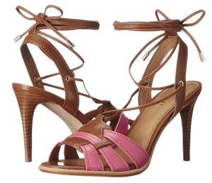 Coach Dahlia Saddle Leather Sandal Heels Multi-Color Pumps