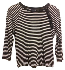 Chaps Cotton Classic Top Black / White Striped