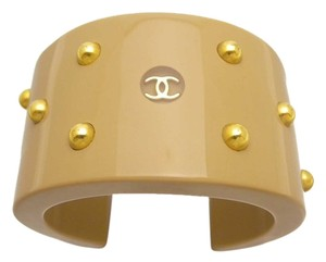 Chanel FALL SALE *RARE*AUTH. VINTAGE CHANEL BANGLE BEIGE CC&STUDDED
