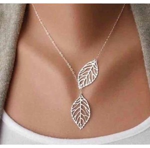 Other Silver Leaf Lariat Style Necklace