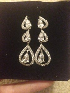 NaNa Silver Half Heart Shape Drop Stunning Crystal Earrings