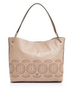 Tory Burch Leather Dust Tote in Light Oak/Ginger Snap