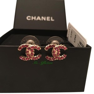 Chanel CHANEL CC Pink Crystal Earrings