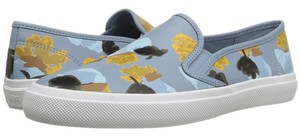 Coach A00970 Chrissy Cornflower Floral Field Leather Slip On Blue Flats