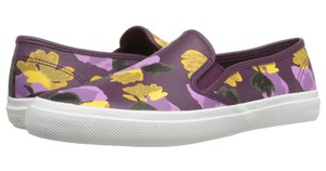 Coach A00970 Chrissy Plum Floral Field Leather Slip On Purple Flats